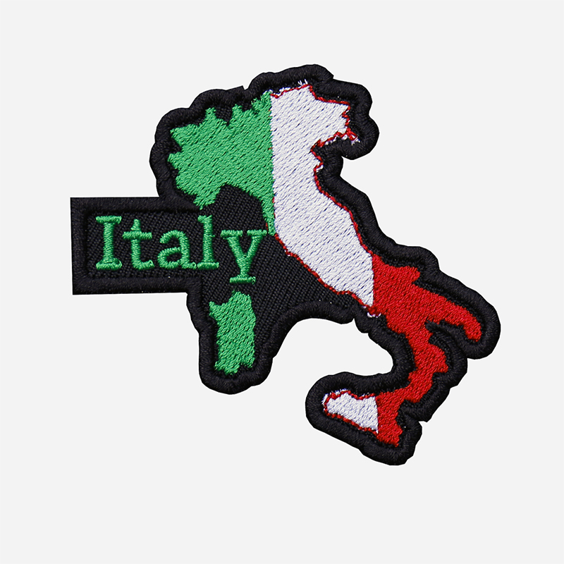 Italy Map Flag Embroidered Biker Vest Patch