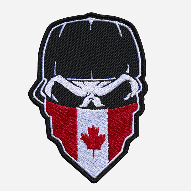 Skull With Cap And Canada Flag Bandanna Embroidered Patch