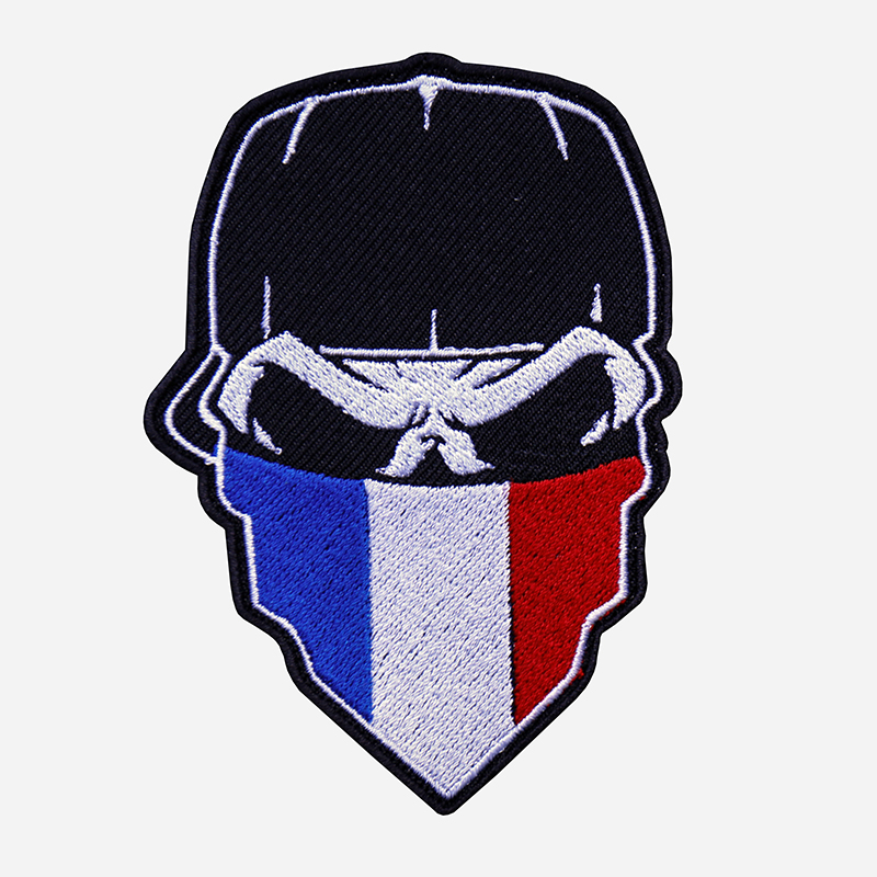 Skull With Cap And French Flag Bandanna Embroidered Patch