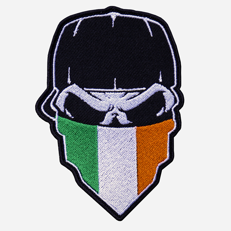 Skull With Cap And Ireland Flag Bandanna Embroidered Patch