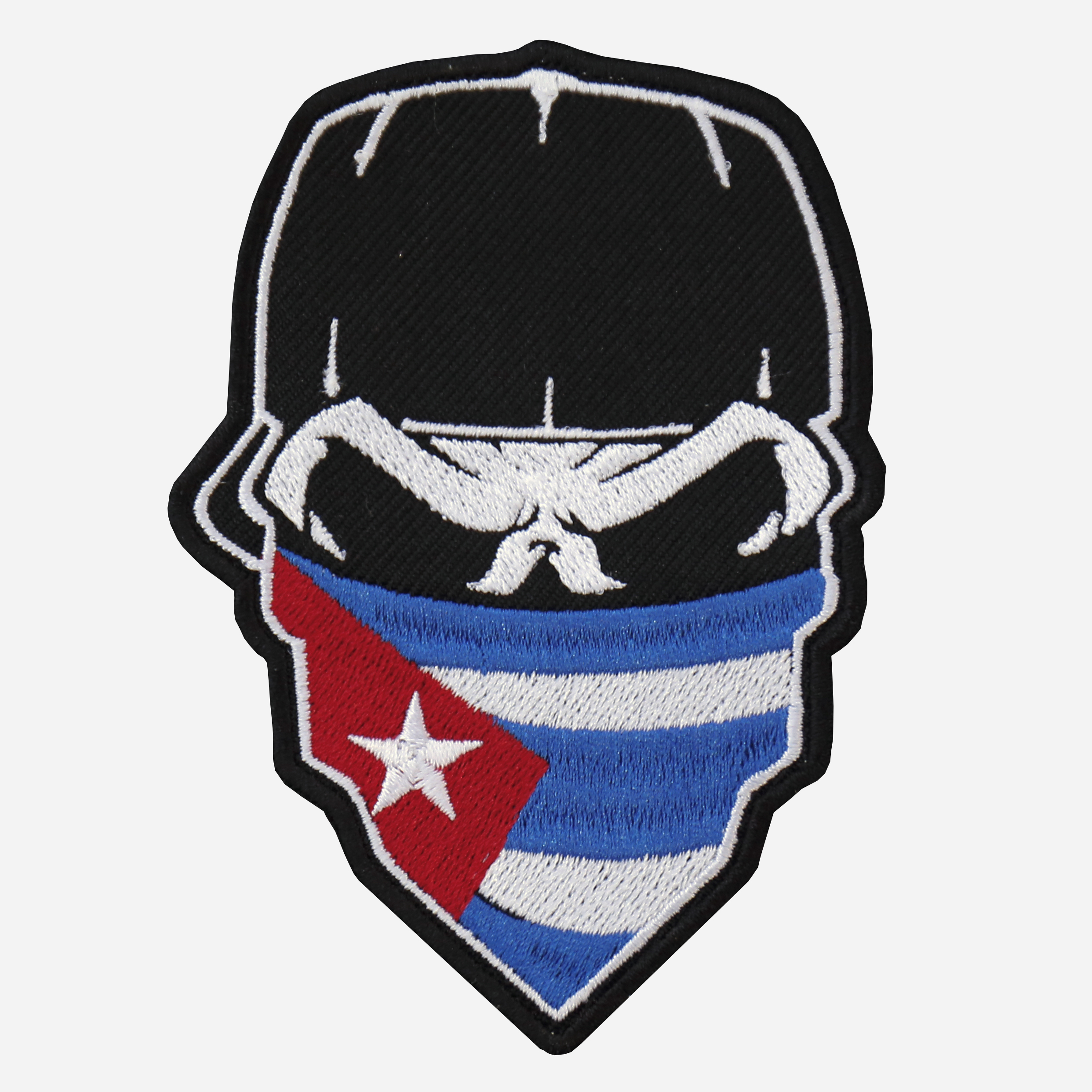Skull with Cap and Cuban Flag Bandanna embroidered Patch