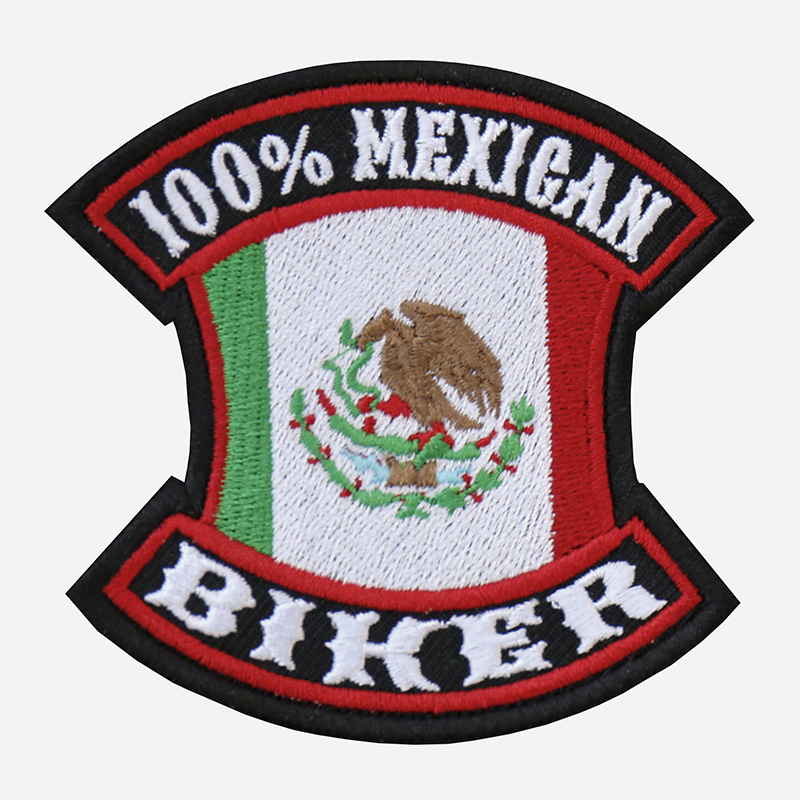 100 Percent Mexican Biker Embroidered Vest Patch