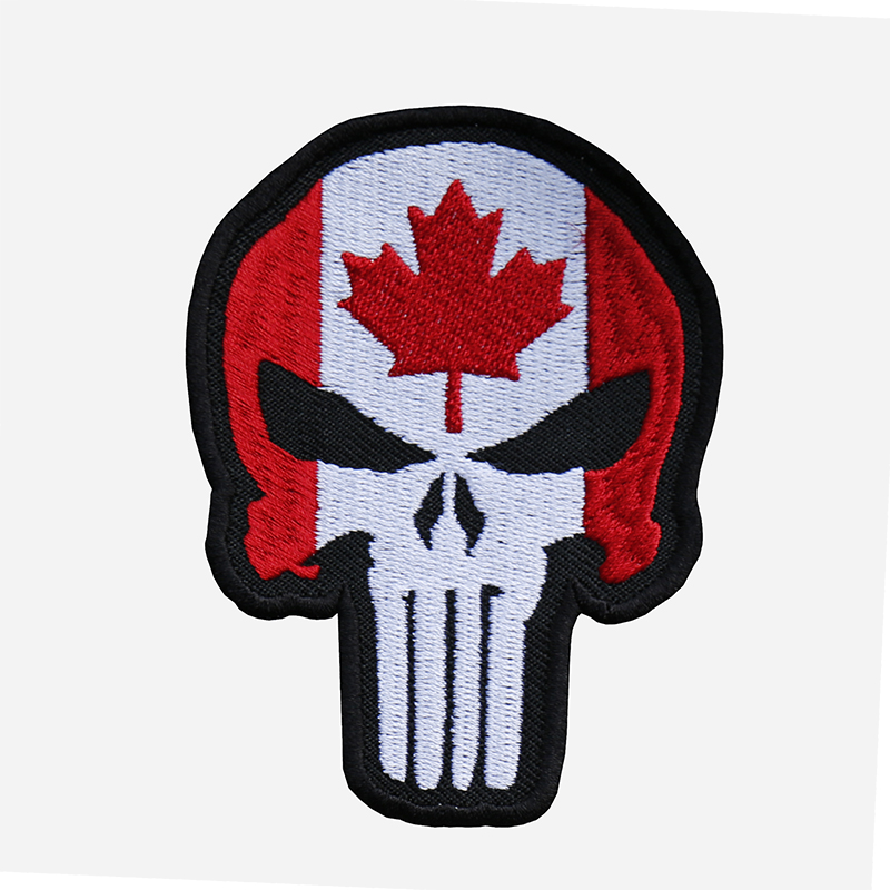 Canadian Flag Punisher Skull Embroidered Biker Patch