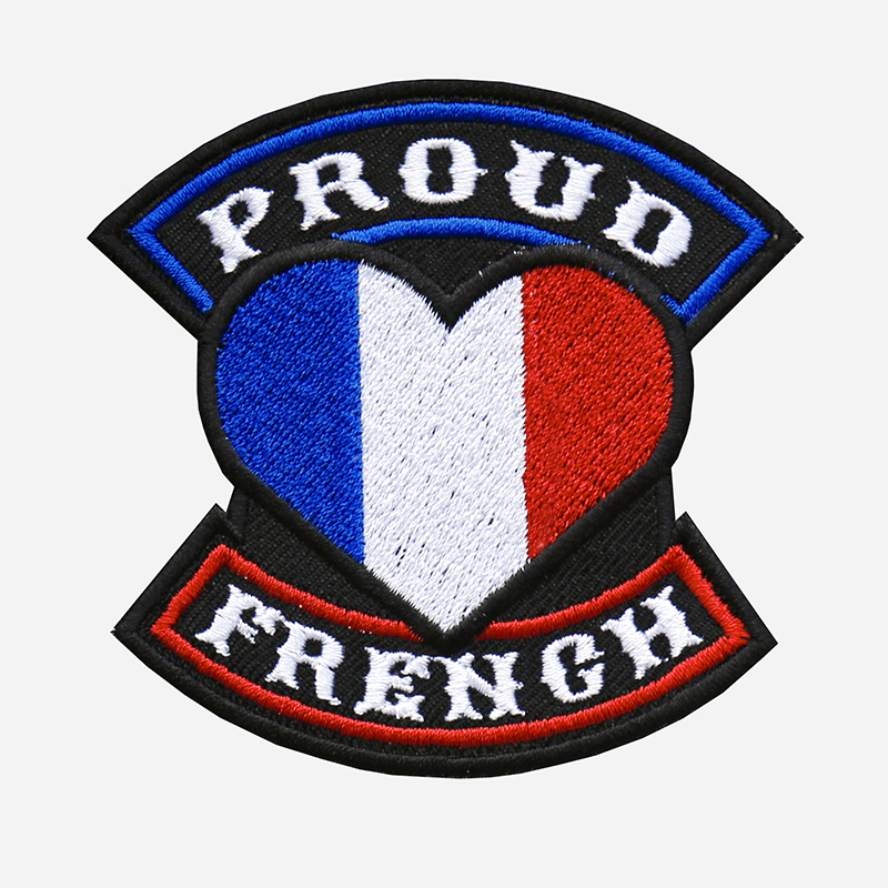 Proud French Flag Embroidered Biker Vest Patch