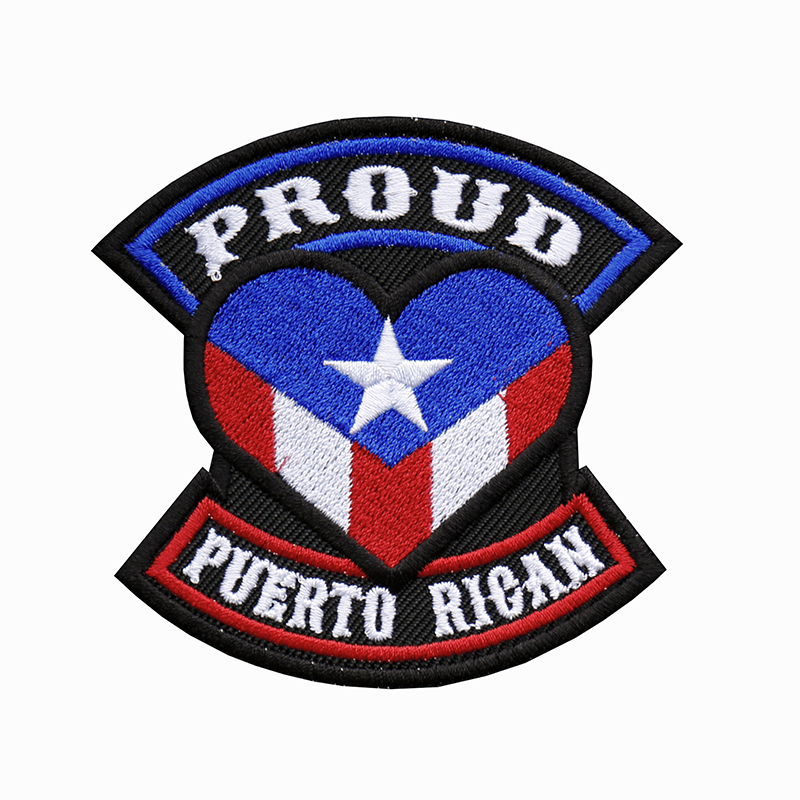 Proud Puerto Rican Flag Embroidered Biker Leather Vest Patch