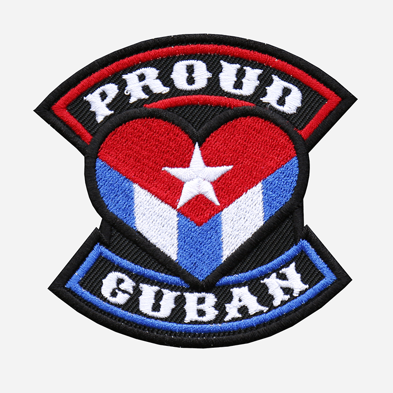 Proud Cuban Flag Embroidered Biker Leather Vest Patch