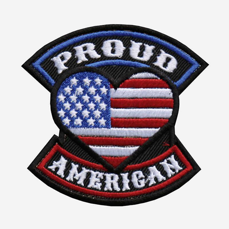 Proud American Flag Embroidered Biker Leather Vest Patch