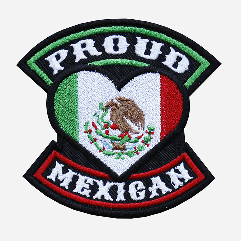 Proud Mexican Flag Embroidered Biker Leather Vest Patch