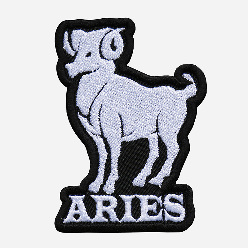 Aries Embroidered Biker Vest Zodiac Symbol Patch