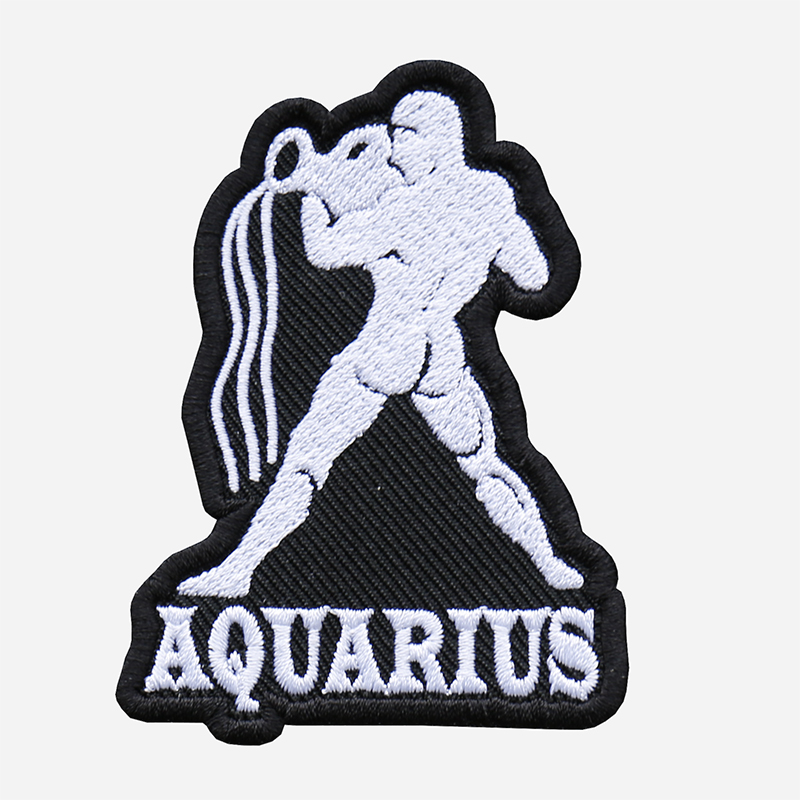 Aquarius Embroidered Biker Zodiac Symbol Patch