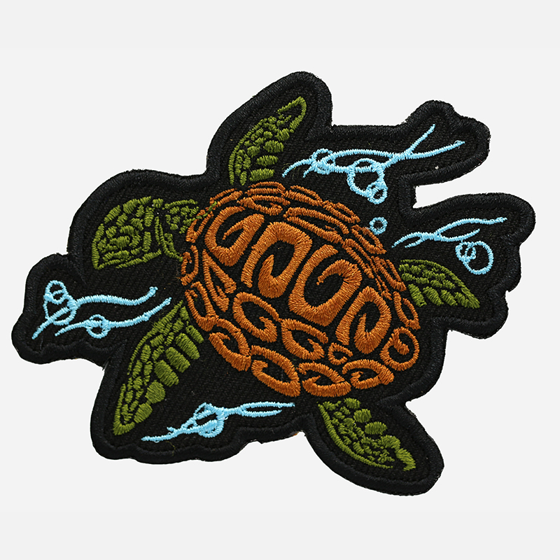 Sea Turtle Motorcycle Rider Embroidered Cut Patch