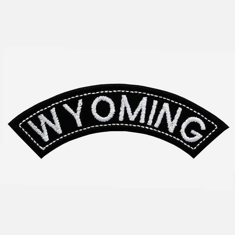 Wyoming Mini Top Rocker Embroidered Vest Patch