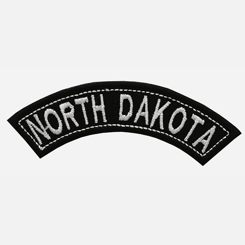 North Dakota Mini Top Rocker Embroidered Vest Patch