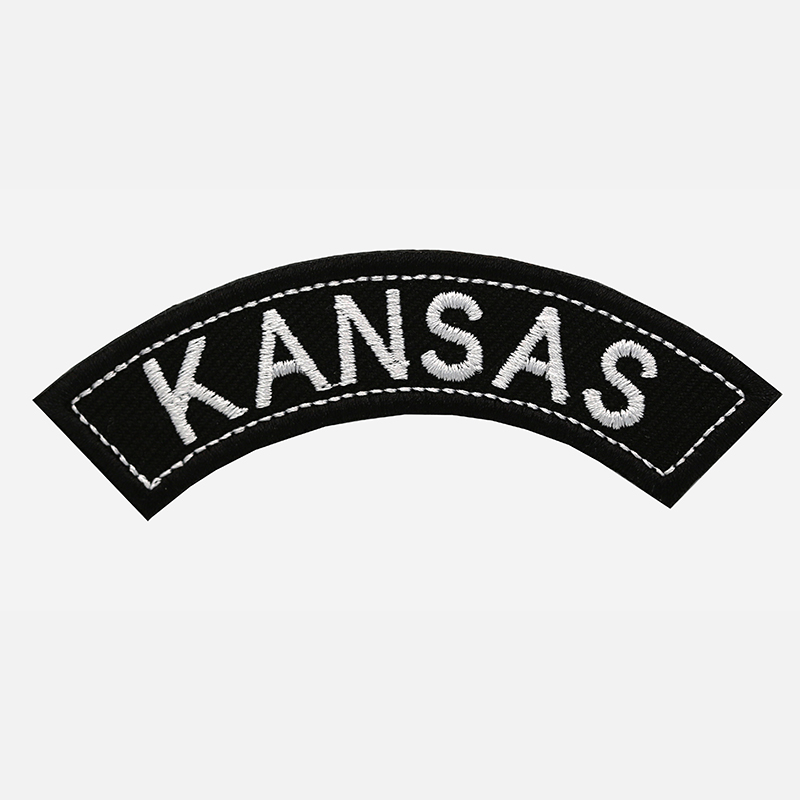 Kansas Mini Top Rocker Embroidered Vest Patch