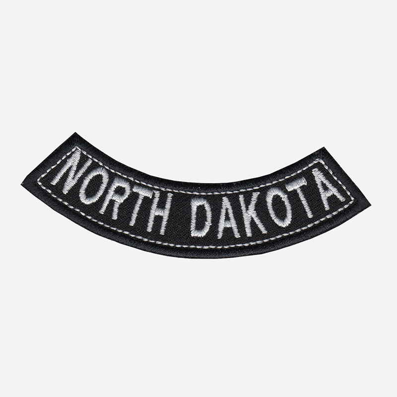 North Dakota Mini Bottom Rocker Embroidered Vest Patch