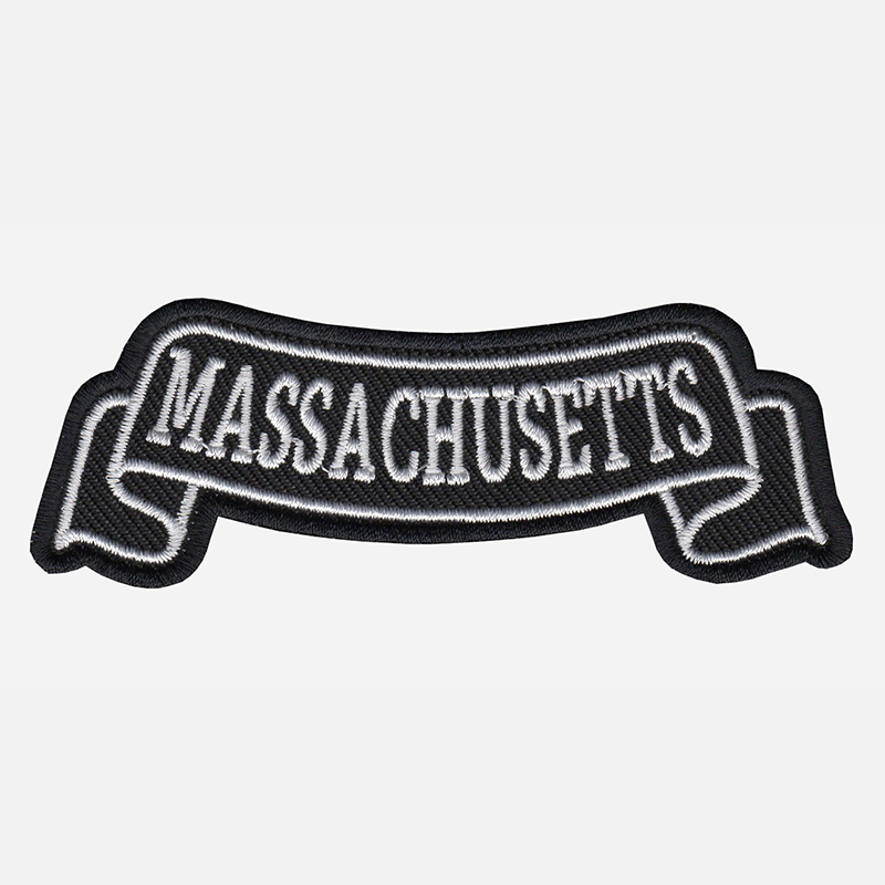 Massachusetts Top Banner Embroidered Biker Vest Patch