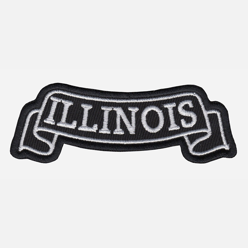 Illinois Top Banner Embroidered Biker Vest Patch