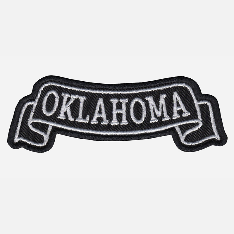 Oklahoma Top Banner Embroidered Biker Vest Patch
