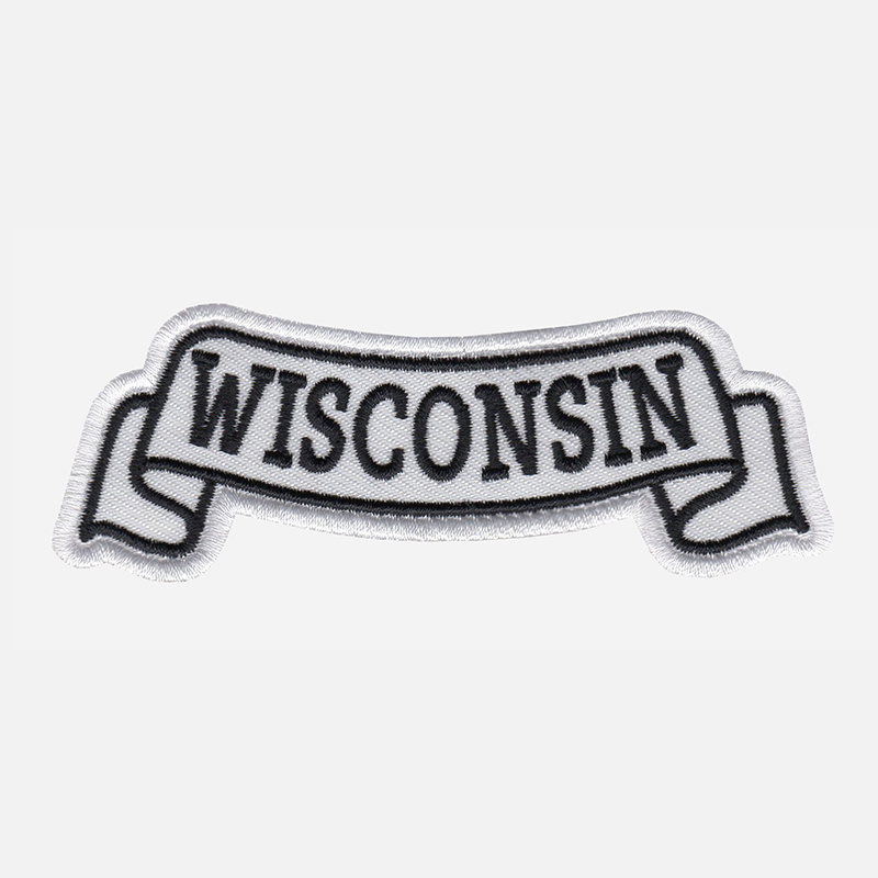 Wisconsin Top Banner Embroidered Biker Vest Patch